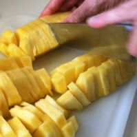cut pineapple into chunks