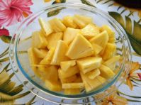 pineapple chunks in bowl