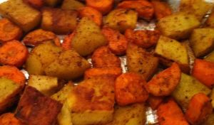 Roasted carrots and potatoes with Moroccan spices final