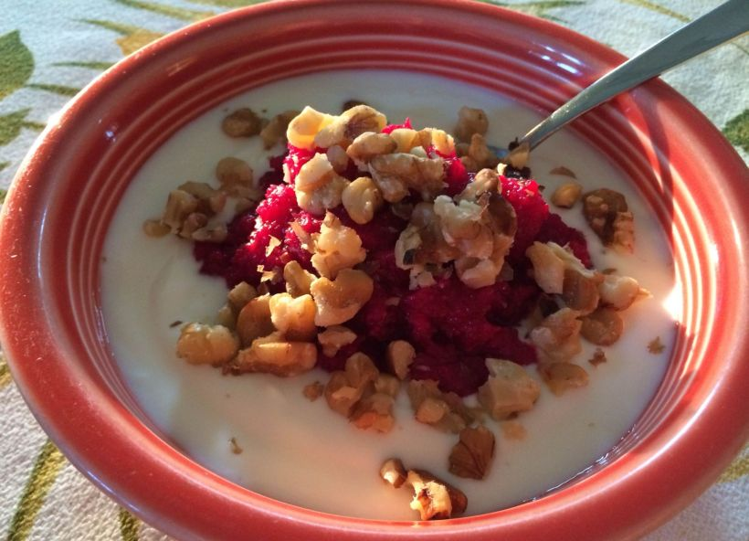 Plain Yogurt with Cranberry Orange Relish & Broken Walnuts
