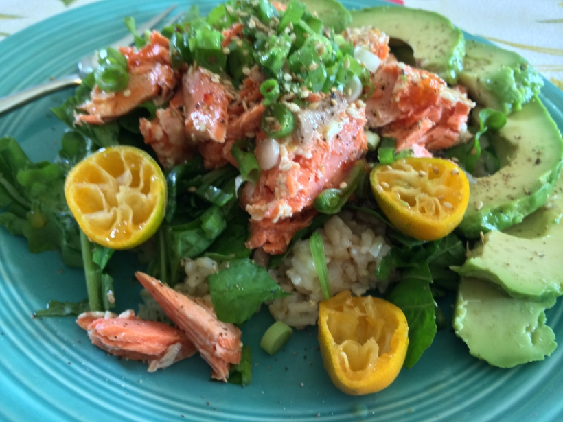 Salmon with Brown Rice and Asian Flavors