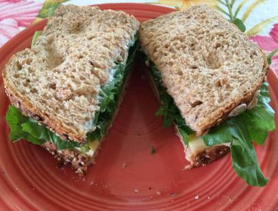 Sandwich of Gruyere and Plenty of Arugula