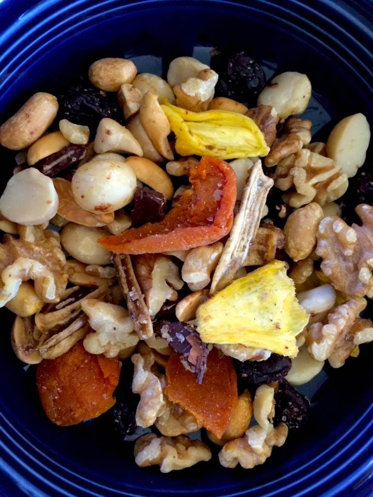nuts, fruits and chocolate