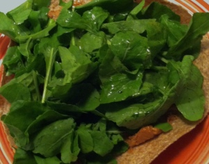 Whole Grain Tortilla with Peanut Butter, Lemon Juice & Arugula