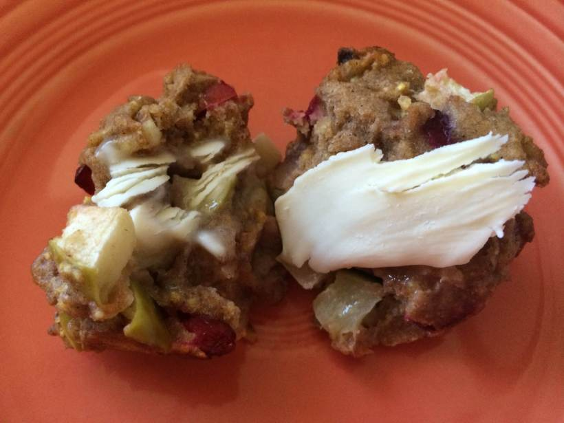 Apple Cranberry Apricot Muffin Split with Butter