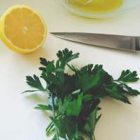 closeup lemon parsley
