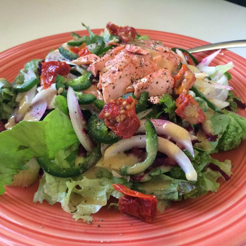 Plate salad with salmon 2