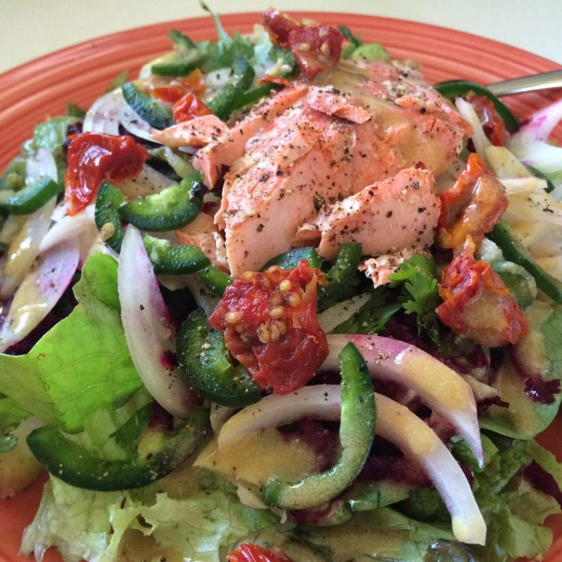 Plate salad with salmon 3