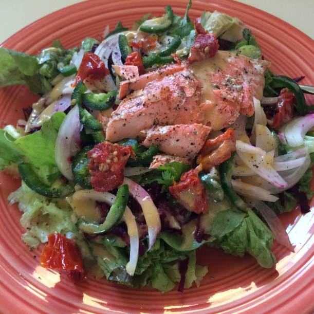 Plate salad with salmon
