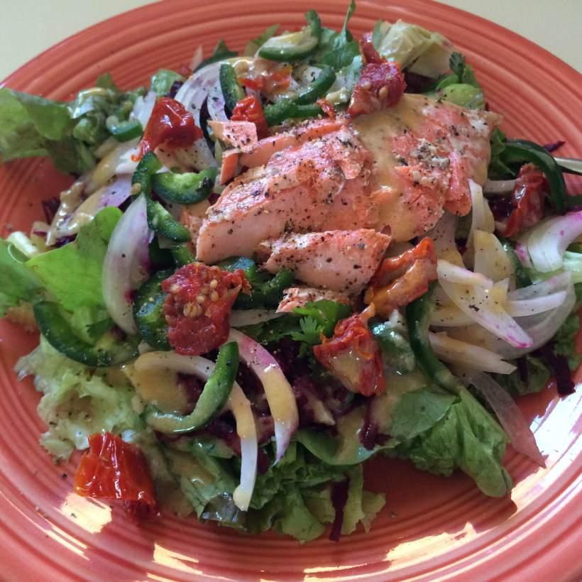 Plate salad with salmon
