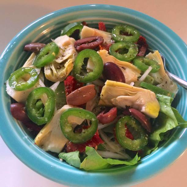 Dressed salad on yogurt