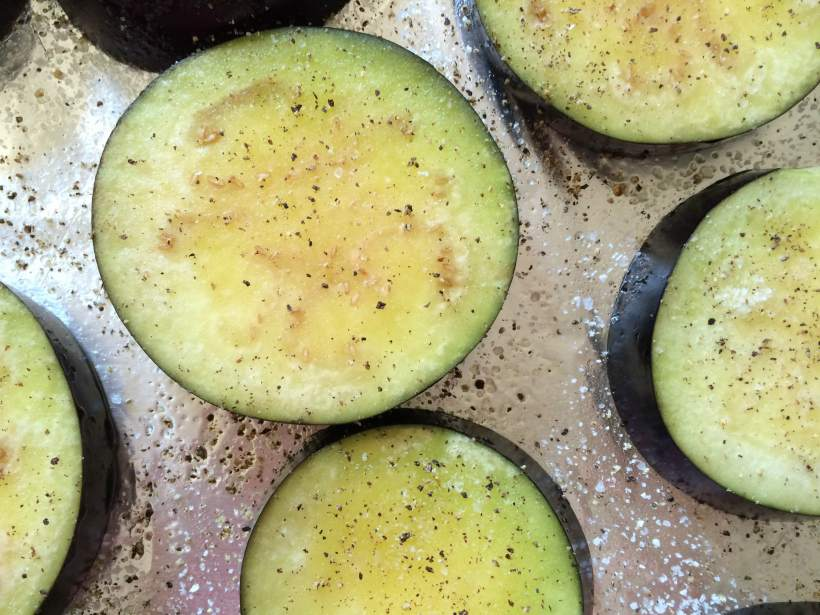 Eggplant slices ready for roasting