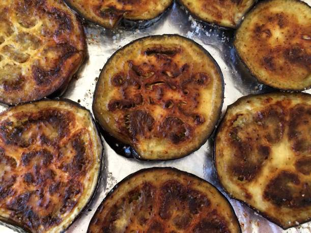 Roasted eggplant slices