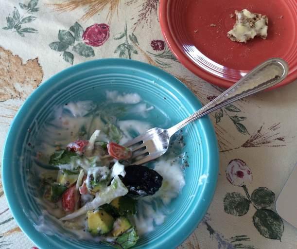 Bottom of bowl yogurt breakfast salad