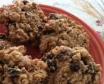 Close up of plate of oatmeal cookies