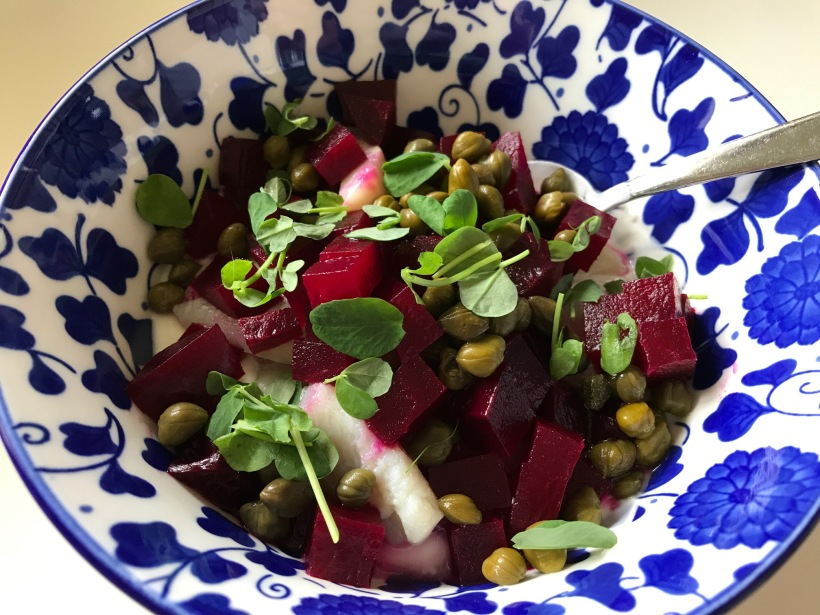 Yogurt, herring, diced beets, capers and sprouts